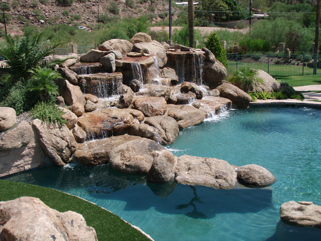 Real rock waterfall and pool features rockworks arizona for Az pond and pool